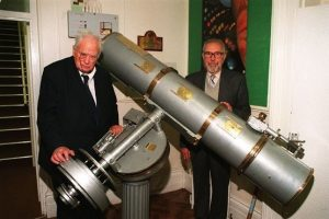 Sir Patrick Moore with the then head of TCS